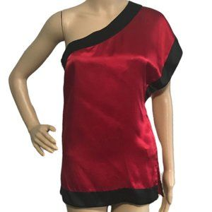 BEBE Red & Black Silk One Shoulder Blouse XS